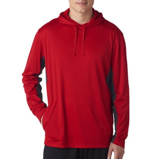 Men's Big and Tall Red and Charcoal Cool and Dry Sport Hooded Pullover Sweater