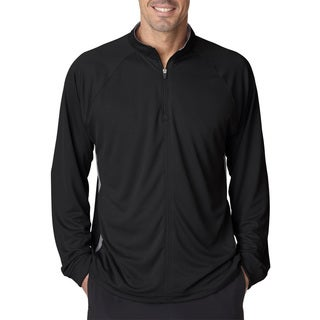 Cool and Dry Men's Black/Grey Polyester Sport 1/4-zip Big and Tall Pullover Sweater With Side Panels