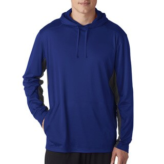UltraClub Men's Big and Tall Kyanos Blue/Charcoal Cool/Dry Hooded Pullover Sport Sweater