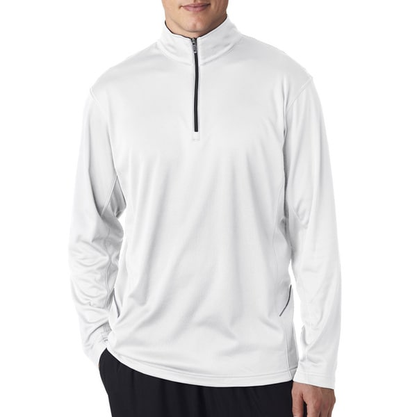 Mens White Polyester Cool and Dry Quarter-zip Big and Tall Sports Pullover Sweater