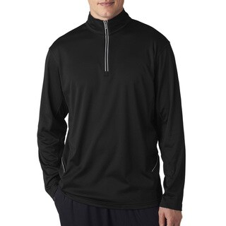 Ultra Club Men's Cool & Dry Sport Black 1/4-Zip Big and Tall Pullover Sweater