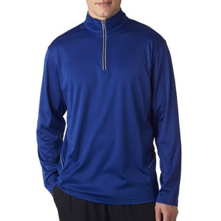UltraClub Men's Big and Tall Kyanos Blue Cool/Dry Quarter-zip Pullover Sport Sweater
