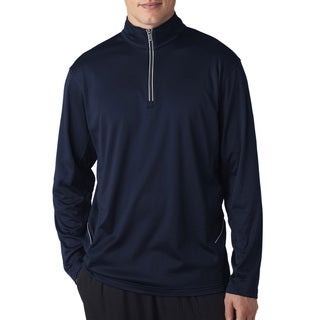 Men's Cool & Dry Sport Navy Polyester 1/4-zip Big and Tall Pullover Sweater