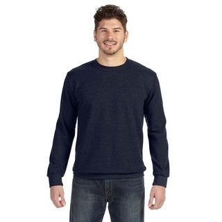 Men's Navy French Terry Big and Tall Crew-neck Sweater