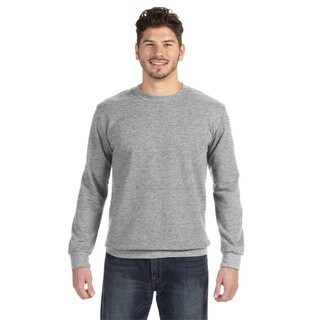 Adult Men's Heather Grey French Terry Big and Tall Crewneck Sweater