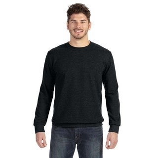 Men's Big and Tall Black Cotton-blended French Terry Sweater