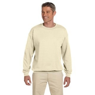 Men's Beige Cotton-blended Fleece Crewneck Sweater