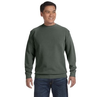Men's Willow Green Cotton/Polyester Fleece Big and Tall Crew Neck Sweater