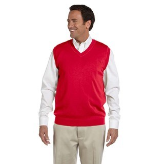Men's Red Cotton Big and Tall V-neck Vest