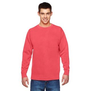 Men's Neon Red Orange Garment-dyed Fleece Big and Tall Crewneck Sweater