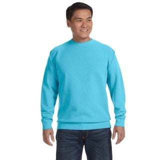 Men's Lagoon Blue Fleece Big and Tall Garment-dyed Crew-neck Sweater