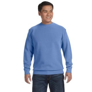 Men's Flo Blue Fleece Big and Tall Garment-Dyed Crew-neck Sweater