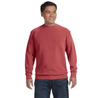 Men's Crimson Cotton/Polyester Fleece Big and Tall Garment-dyed Crewneck Sweater