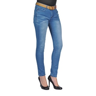 C'est Toi Womens Belted Skinny Jeans Medium Wash