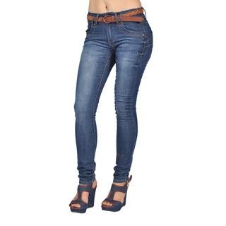 C'est Toi Womens Belted Skinny Jeans Dark Wash