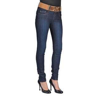 C'est Toi Womens Belted Skinny Jeans Dark Wash (3 options available)