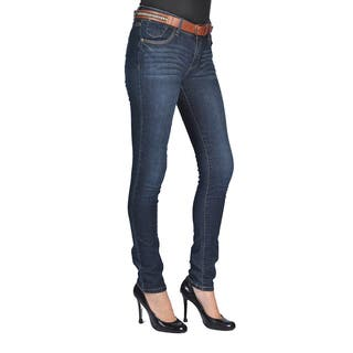 C'est Toi Womens Belted Skinny Jeans Dark Wash|https://ak1.ostkcdn.com/images/products/12449417/P19263565.jpg?impolicy=medium