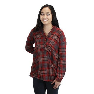 Relished Women's Red and Brown Plaid Shirt