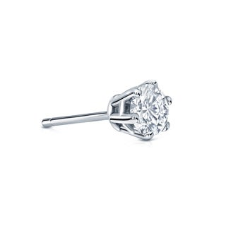 Auriya 14k Gold 1/4ct TDW Round-Cut Diamond 6-Prong Push-Back Single Stud Earring (H-I, SI1-SI2)