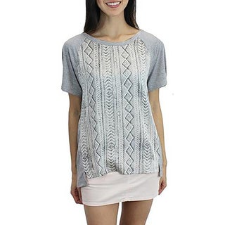 Relished Women's Grey Cable Knit Print Tee