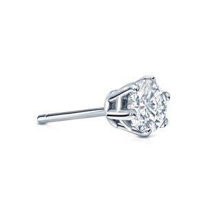 Auriya 14k Gold 1/3ct TDW Round-Cut Diamond 6-Prong Push-Back Single Stud Earring (H-I, SI1-SI2)