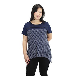 Relished Women's Navy Print Knit Trapeze Top