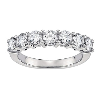 14k/18k White Gold 1ct TDW Classic Shared Prong Round Diamond Wedding Band (G-H, SI1-SI2)