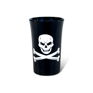 Puzzled Black/White Pirate Skull and Bones Tall Shot Glass