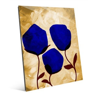 Blooming Blue' Glass Wall Art