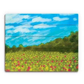 'Flower Field II' Wood Wall Art