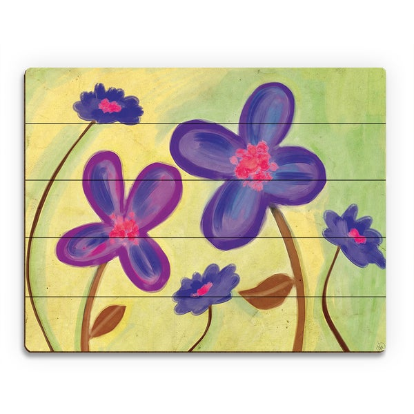 Purple Wild Flowers Wall Art on Wood