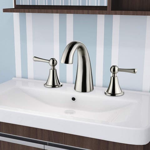 """Vanity Art 8"""" Bathroom Sink Faucet Three Hole and Double Handle Deck Mounted Bathroom Faucet (Chrome, Brushed Nickel)"""