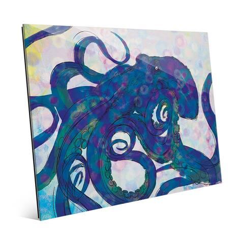 Indigo Octopus Glass Wall Art