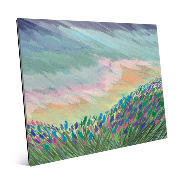 Indigo Impasto Field Glass Wall Art