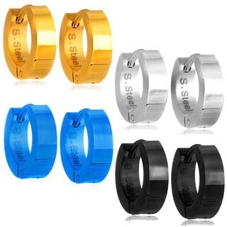 High Polish Hoop Stainless Steel Earrings - 4 Pair set