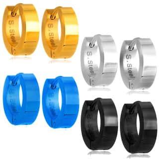 High Polish Hoop Stainless Steel Earrings - 4 Pair set|https://ak1.ostkcdn.com/images/products/12450080/P19264117.jpg?impolicy=medium
