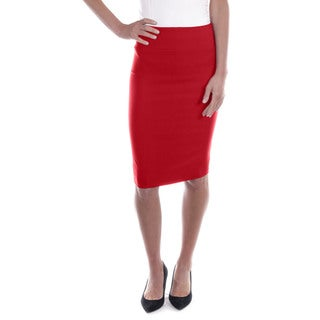 Women's Mid Length Classic Pencil Skirt (Red)