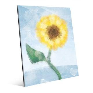 'Sunflower on Blue' Glass Wall Art