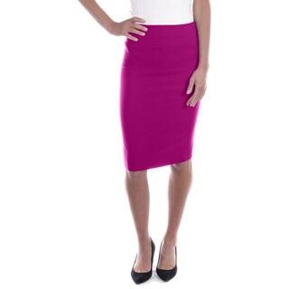 Women's Mid Length Classic Pencil Skirt (Fuchsia)