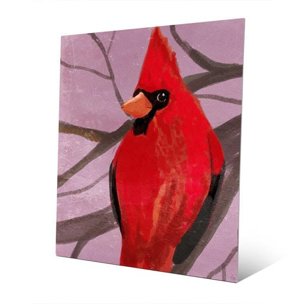 3 Sculptural Red Cardinal Bird Gold Metal Buttons Painted Cardinal Bird Buttons
