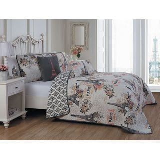 Avondale Manor Cherie 5-piece Polyester Microfiber Paris Themed Quilt Set