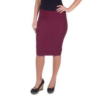 Women's Mid Length Classic Pencil Skirt (Wine)