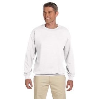 Men's White 50/50 Fleece Big and Tall Crew-neck Sweater
