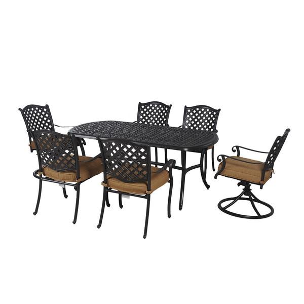 Sunjoy Tan Seat Cushions Black Aluminum 7-Piece Outdoor Dining Set with Lazy Susan and Umbrella Base
