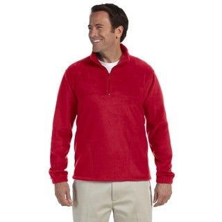 Men's Red Polyester Fleece Big and Tall Quarter-zip Pullover Sweater