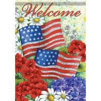 Carson Home Accents Glitter Trends Classic Flagtrends Synthetic Fiber 13-inch x 18-inch American Flag and Flowers Garden Flag