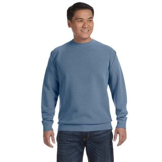 Men's Blue Fleece Big and Tall Garment-dyed Crew-neck Sweater