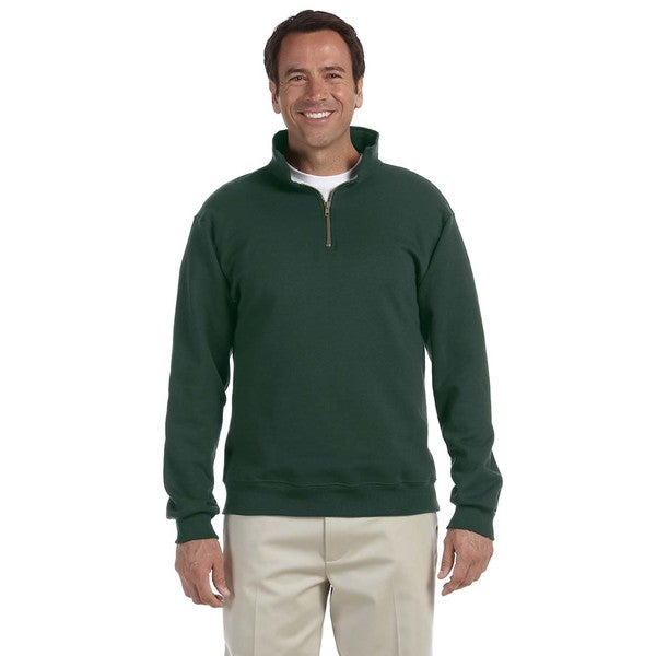 Mens Super Sweats Forest Green 50/50 Nublend Fleece Quarter-Zip Big and Tall Pullover Sweater