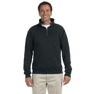 Men's Super Sweats Black 50/50 Nublend Fleece Big and Tall Quarter-zip Pullover Sweater