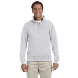 Men's Super Sweats Ash Grey 50/50 Nublend Fleece Big and Tall Quarter-zip Pullover Sweater